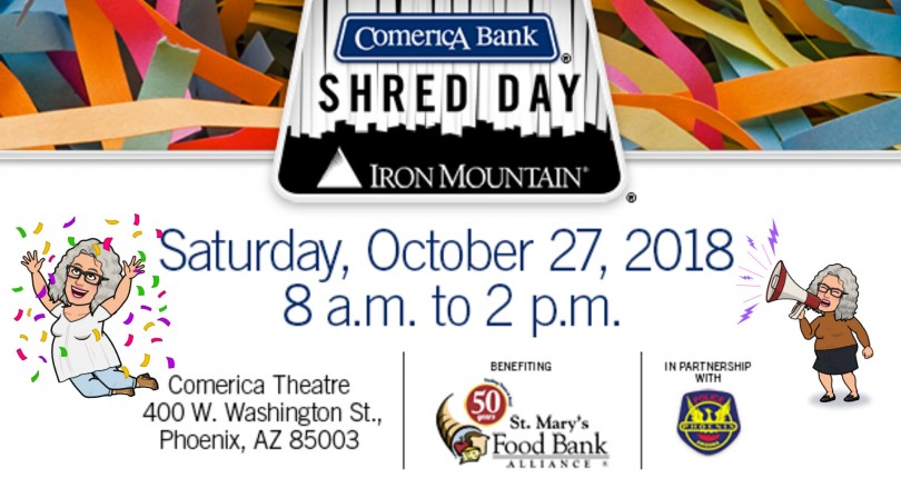 Comerica Bank Shred Day presented by Iron Mountain, St Mary's Food Bank Alliance and the Phoenix Police